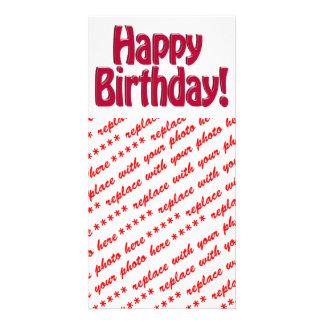 Happy Birthday HOBO Text - Red Custom Photo Card