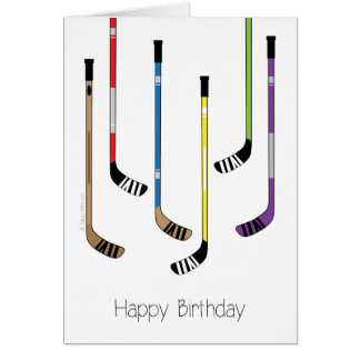 Happy Birthday Hockey Sticks Greeting Card