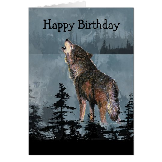 Happy Birthday Howling Wolf Animal Art Card