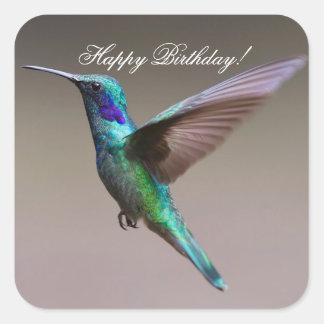 Happy Birthday Hummingbird Square Sticker