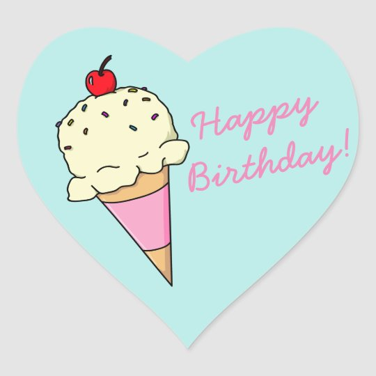 Happy Birthday Ice Cream Heart Sticker