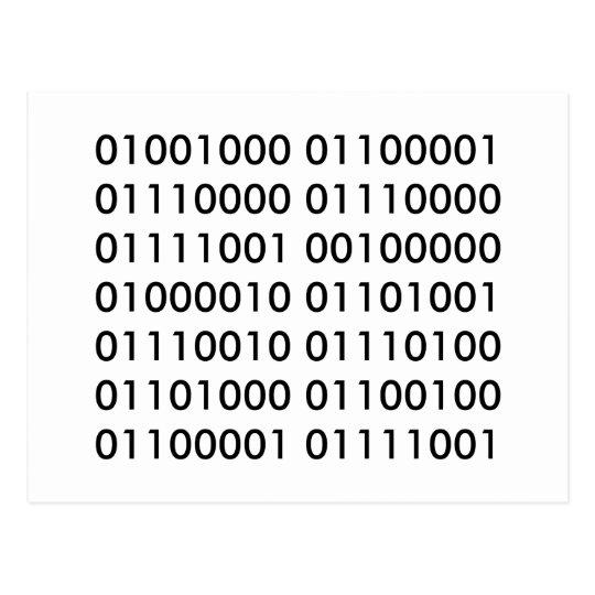 Happy Birthday in Binary Code Postcard
