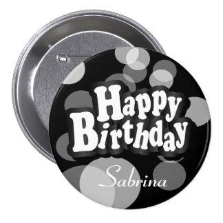 Happy Birthday in Black Bokeh 7.5 Cm Round Badge