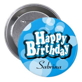 Happy Birthday in Blue Bokeh 7.5 Cm Round Badge