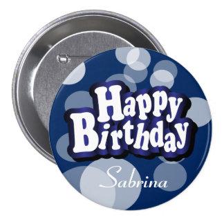 Happy Birthday in Dark Blue Bokeh 7.5 Cm Round Badge