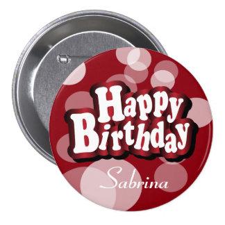 Happy Birthday in Dark Red Bokeh 7.5 Cm Round Badge