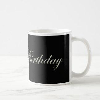 happy birthday in fancy letters on black mugs