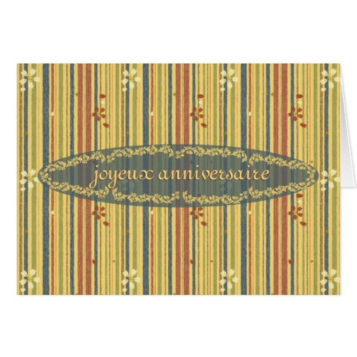 Happy Birthday in French, Stripes and Flowers Cards