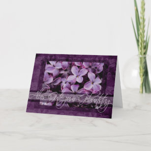 happy birthday in german lilac blossoms card