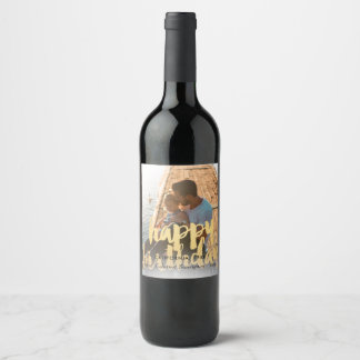 Happy Birthday in Gold over Birthday Photo Wine Label