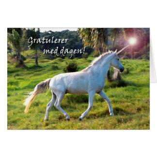 Happy Birthday in Norwegian, Magical Unicorn Card