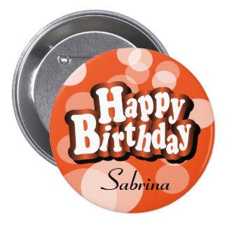 Happy Birthday in Orange Bokeh 7.5 Cm Round Badge