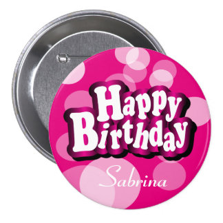 Happy Birthday in Pink Bokeh 7.5 Cm Round Badge