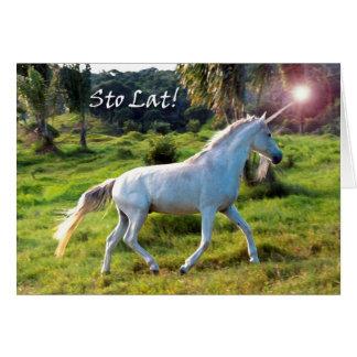 Happy Birthday in Polish, Magical Unicorn Greeting Card