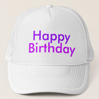 Happy Birthday in Purple and Magenta Trucker Hat