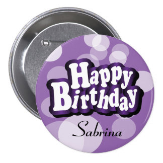 Happy Birthday in Purple Bokeh 7.5 Cm Round Badge