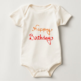 Happy Birthday in Red And Orange Baby Bodysuit