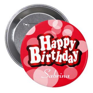 Happy Birthday in Red Bokeh 7.5 Cm Round Badge