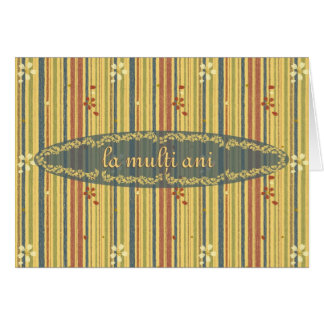 Happy Birthday in Romanian, Stripes and Flowers Greeting Card