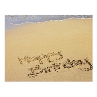 Happy birthday in sand postcard