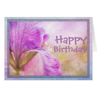 Happy Birthday Iris Floral Card