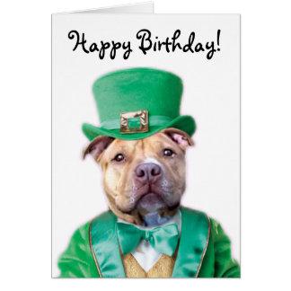 Happy Birthday Irish Pitbull Puppy greeting card
