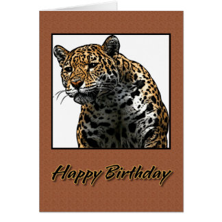 Happy Birthday Jaguar Illustration Card