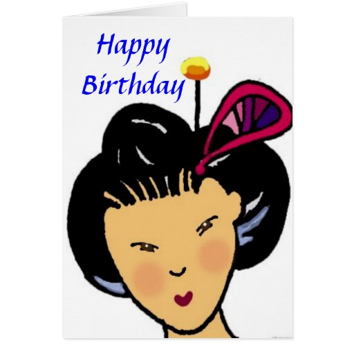 Happy birthday japanese girl greeting card zazzle