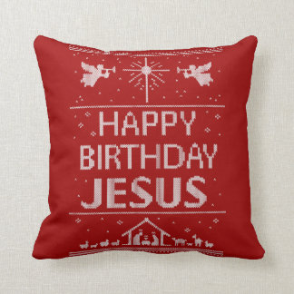 Happy Birthday Jesus Christmas Religious Red White Cushion