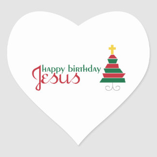 Happy Birthday Jesus Heart Sticker