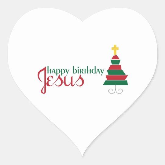 Happy Birthday Jesus Heart Sticker