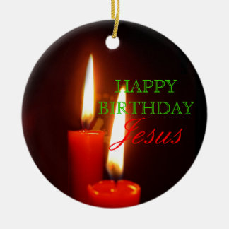 Happy Birthday, Jesus Large Red Candles Christmas Ornament