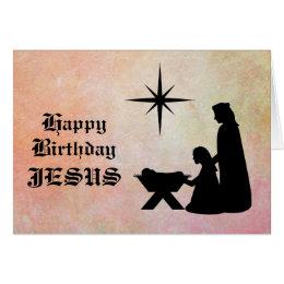 Happy birthday jesus cards invitations zazzle happy birthday jesus nativity christmas card bookmarktalkfo Gallery