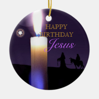 Happy Birthday Jesus North Star Round Ornament