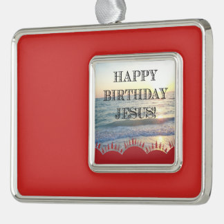 Happy Birthday Jesus Over the Ocean Silver Plated Framed Ornament