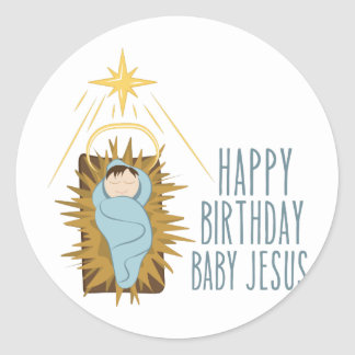 Happy Birthday Jesus Round Sticker