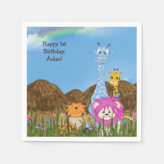 Happy Birthday jungle animals with huts Disposable Serviette