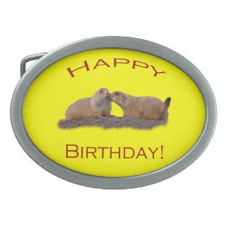 Happy Birthday Kiss Oval Belt Buckles