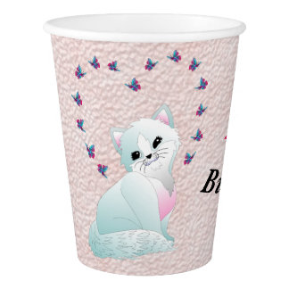 Happy Birthday Kitten and Flowers on Pink Paper Cup