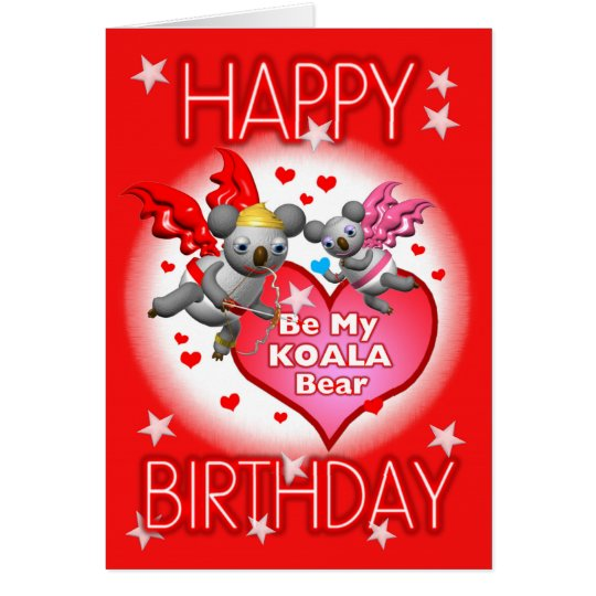 Happy Birthday Koala Hearts Greeting Card w/Words