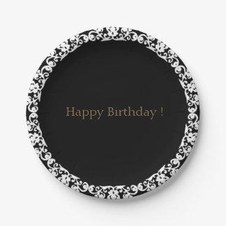 Happy-Birthday-Lace--Elegance-Bronze-Black_Unisex Paper Plate