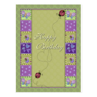Happy Birthday - lady bug and butterfly Postcard