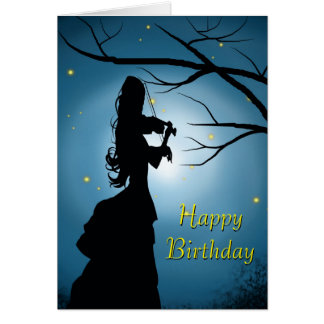 Happy Birthday Lady Playing A Violin Card