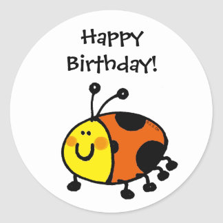 Happy Birthday! (ladybug) Classic Round Sticker