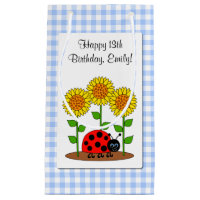 Happy Birthday Ladybug with Sunflower Personalised Gift Bag