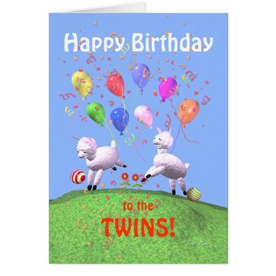 Happy Birthday Lambs for Twins Card