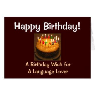 Happy Birthday Language Lover Card