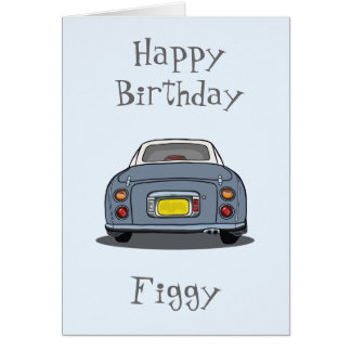 Happy Birthday Lapis Grey Nissan Figaro Card