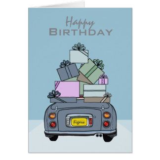 Happy Birthday Lapis Grey Nissan Figaro, Custom Card