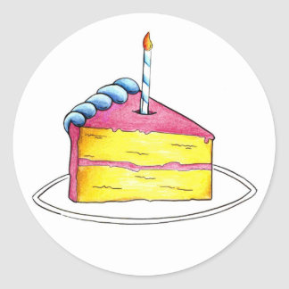 Happy Birthday Layer Cake Slice w/ Candle Stickers